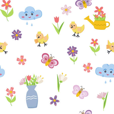 Set of retro style flowers, butterflies, birds and hearts in bright, pretty Spring colors. Cute spring garden and nature elements for girls, isolated on white for greeting cards, Easter, Illustration