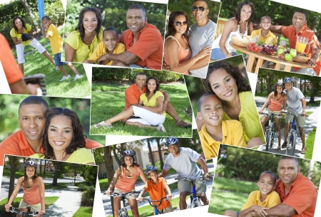 Montage of a young happy African American family, woman, man, father, mother & boy child riding bicycles, playing sports and eating healthy food lunch in the summer sunshine Stock Photo - 19393076