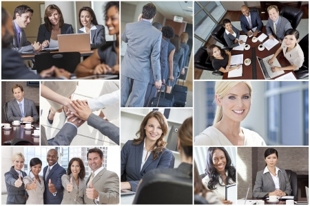 multicultural: Montage of happy successful men & women, businessmen & businesswomen team colleagues in meeting, offices, using laptop or tablet computers, business travelling, working on the phone and thumbs up