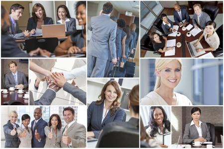 multicultureel: Montage van gelukkig succesvolle mannen & vrouwen, zakenlieden en ondernemers team collega's in vergadering, kantoren, met behulp van laptop of tablet computers, zakelijke reizen, werken aan de telefoon en thumbs up