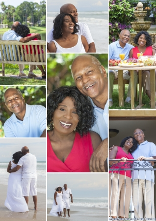 Montage of a happy senior African American couple together outside, active retirement in the summer sunshine at the beach in a garden eating healthy food photo