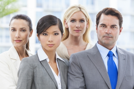 Interracial Caucasian European and Chineses Asian group of business men & women, businessmen and businesswomen team Stock Photo - 19407136