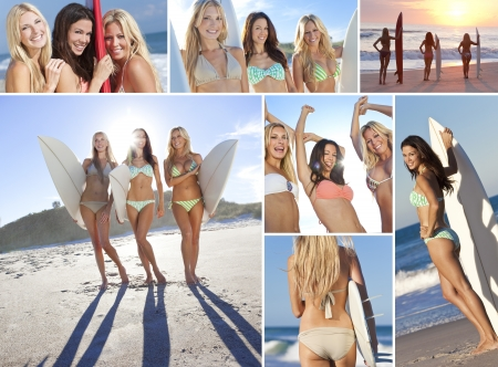 sexy bikini girl: Three happy beautiful girls or young women wearing bikinis with their surfboards on a sunny beach and dancing at sunset or sunrise
