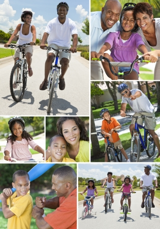 Young African American families, women, men, father, mother boy girl children riding bicycles in the summer and being active playing baseball photo