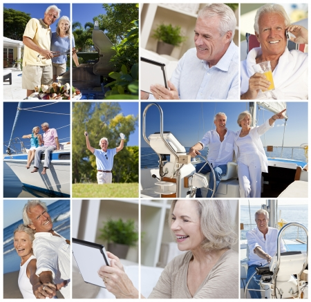 Happy retirement senior men and women couples active lifestyle on a romantic vacation together in summer sunshine sailing, using tablet computer and cooking on barbecue  photo