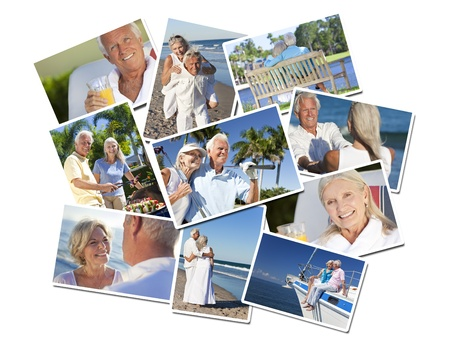 Happy retirement senior man and woman couples active romantic vacation together in summer sunshine on a beach, sailing and playing golf Banco de Imagens