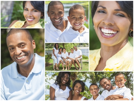 Aantrekkelijke Afro-Amerikaanse familie moeder, vader, zonen en dochter buiten uw plezier in de zomer zon, het glimlachen, gelukkig ontspannen, zittend