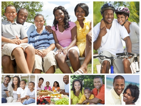 Attractive African American families mothers, fathers, sons, daughters outside having fun in the summer sunshine, eating, sitting, smiling, laughing, happy