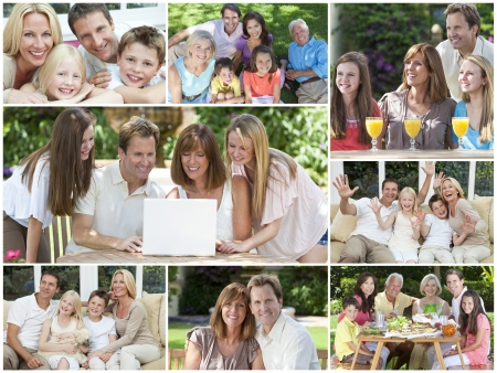 Attractive white Caucasian families mothers, fathers, sons, daughters, grandparents outside having fun in the summer sunshine, eating, sitting, smiling, waving, laughing, happy photo