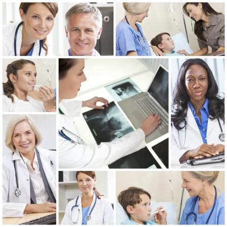 enfermeros: Un equipo de m�dicos y enfermeras de los hombres y mujeres con los pacientes en un hospital, con estetoscopios, los rayos X y computadoras Foto de archivo