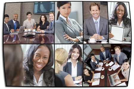 corporate team: Montage of interracial business group men & women, businessmen and businesswomen team