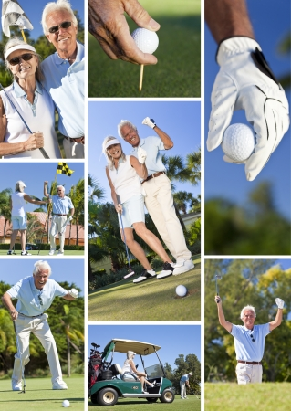 Happy senior retired man and woman couple together playing golf, putting on a green,and celebrating success photo
