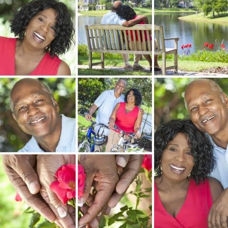 couple afro americain: Un couple de personnes �g�es heureux ensemble afro-am�ricaine � l'ext�rieur, la retraite active dans le soleil d'�t�