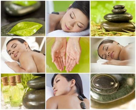 Montage of young beautiful women relaxing at a health spa having treatments, hot stones, oils and massages photo
