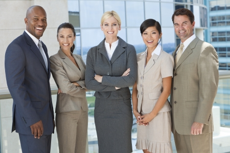 Interracial group of business men & women, businessmen and businesswomen team photo