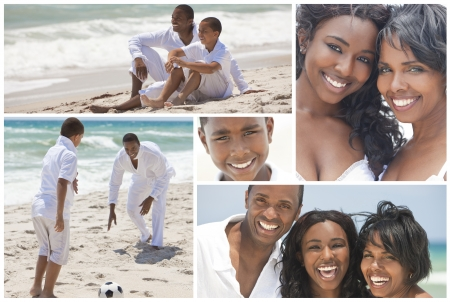 An attractive African American family of mother, father, two sons and daughter outside active at the beach having fun in summer sunshine, playing, smiling, laughing