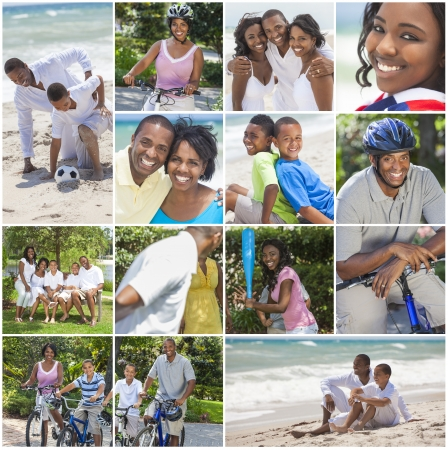 active holiday: An attractive African American family of mother, father, two sons and daughter outside active having fun in summer sunshine, playing at the beach, cycling, relaxing, smiling, laughing