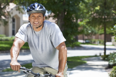 Fit   Healthy African American man riding a bicycle in the summer  Stock Photo - 19608581