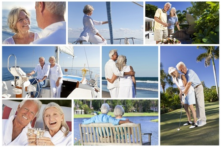 healthy seniors: Montage of healthy lifestyle senior retired people and couples sailing, drinking, eating & playing golf Stock Photo