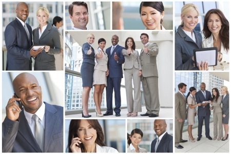 financial team: Montage of interracial group of business teams, men and women, businessmen and businesswomen