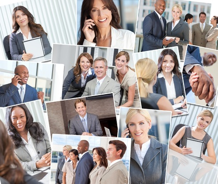 Montage of interracial successful business people, men and women in office meetings, on cell phones, using tablet computers and agreeing business deals