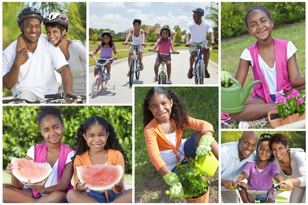 Montage of fit, happy and healthy African American family eating, gardening and cycling together photo