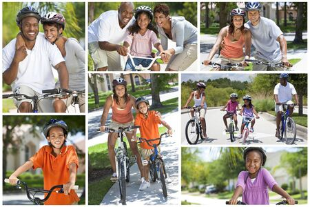 diverse family: Montage of fit, happy and healthy African American family bike riding together