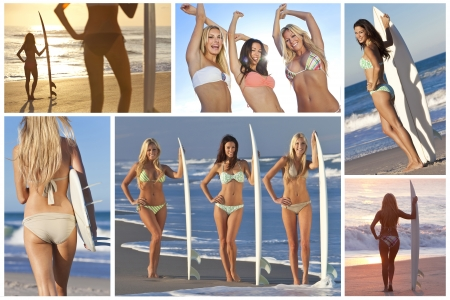 blue bikini: Montage of three beautiful girls or women with surfboards on a beach at sunset Stock Photo