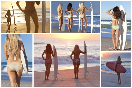 Montage of three beautiful girls or women with surfboards on a beach at sunset photo