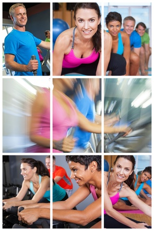 Montage of people exercising at gym on equipment and yoga
