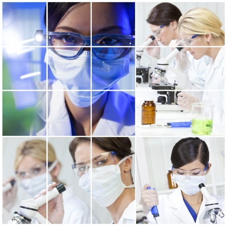 medical research: A team of female medical science researchers women in a laboratory, with microscopes Stock Photo