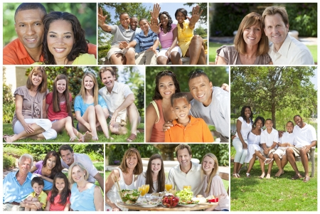 Attractive multicultural families mothers, fathers, sons, daughters, grandparents outside having fun in the summer sunshine, eating, sitting, smiling, waving, laughing, happy photo
