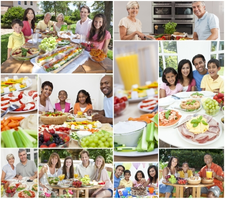 Montage of multicultural people, couple and families, father, mother, son and daughter children eating healthy foods, salads, fruit, ham, cheese, cake, sandwiches, at dining tables inside and outside in summer sunshine