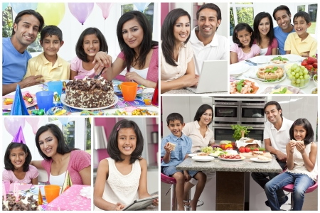 family eating: Montaje de la familia india asi�tica comer alimentos frescos vida sana, el uso de computadoras y la celebraci�n de los cumplea�os