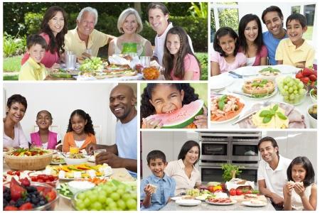 신선한 건강한 라이프 스타일의 음식을 먹고 가족과 고위 사람들의 몽타주