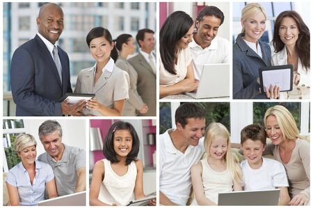 Montage of men, women,children, families businessmen and businesswomen all using modern computer technolgy and communications equipment photo