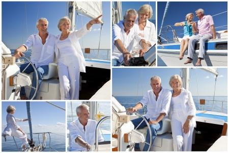 그들의 럭셔리 yact 또는 항해 보트를 타고 건강한 은퇴 한 몇 항해의 몽타주 스톡 콘텐츠