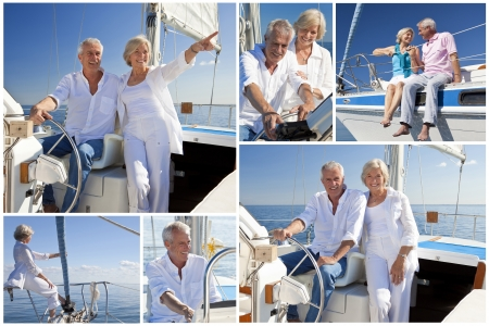 Montage of healthy retired couple sailing aboard their luxury yact or sail boat
