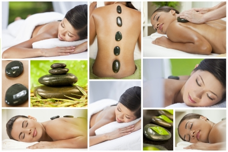 Montage of health spa products and beautiful young asian chinese, hispanic and african american women being pampered with luxury massage treatment and hot stones