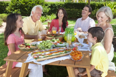 picnic table: An attractive happy, smiling family of mother, father, grandparents, son and daughter eating healthy food at a picnic table outside