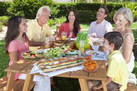 familia picnic: Un atractivo familia feliz y sonriente de la madre, padre, abuelos, hijo y su hija comer alimentos saludables en una mesa de picnic al aire libre Foto de archivo