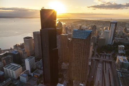 Aerial photograph of City Skyline at sunset in Seattle, Washington, USA   photo