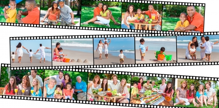 Montage of happy multiethnic mixed race families couples parents and children men women boys and girls enjoying healthy active lifestyle on holiday vacation, at the beach, playing games in the garden, cycling, eating healthy food
