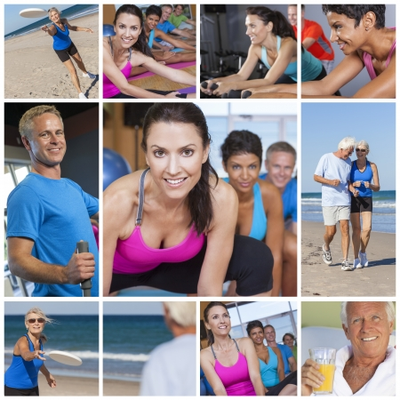 Montage of interracial men, women and senior people working out at a gym, active exercising on the beach and enjoying a healthy lifestyle