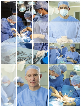 operating theater: Interracial medical doctors and nurses surgical team in an operating theater performing surgery operation Stock Photo