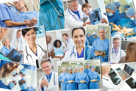 A photo montage of interracial medical people, men and women, doctors and nurses team in hospital, surgery operation, helping examining patients   analyzing x-rays
