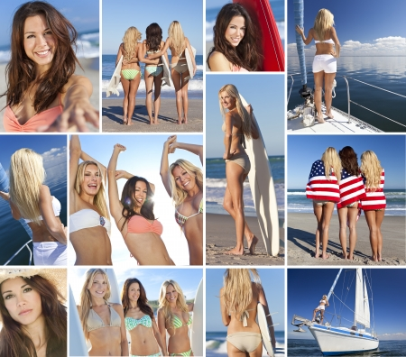boat party: Montage of beautiful women girls summer lifestyle, surfing with surfboards on beach, sailing on yacht, partying and having fun together as friends