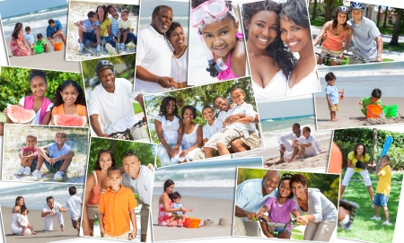 happy black family: Montage of happy ethnic families and couples parents and children men women boys and girls enjoying an active lifestyle on holiday vacation, at the beach, playing games in the garden and cycling Stock Photo