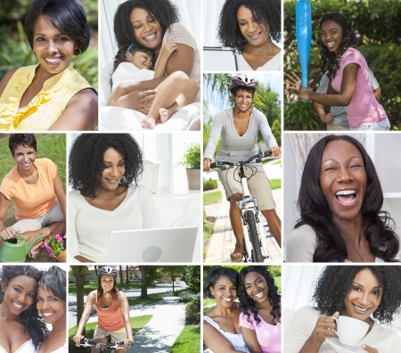 Montage of female African American beautiful women girls family enjoying a healthy active lifestyle, cycling, gardening, relaxing at home on laptop computer and drinking tea or coffee