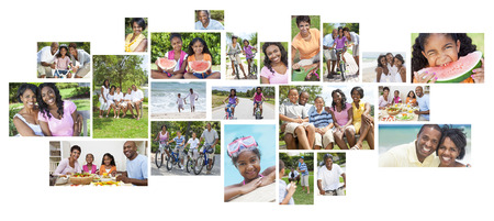 Montage of happy African American family parents children men women boys & girls healthy active lifestyle holiday vacation beach, playing games in garden, cycling & eating healthy food. photo